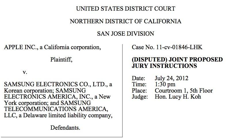 Apple, Samsung file first joint set of disputed jury instructions