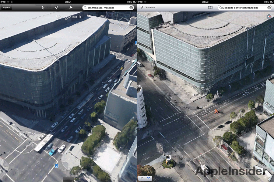 New Google Earth D Cities Not As Detailed As Apple IOS Maps - Google earth online map 3d