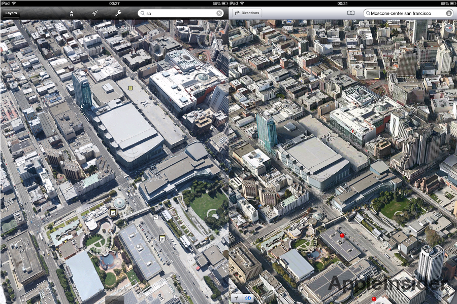 New Google Earth 3D cities not as detailed as Apple iOS 6 Maps