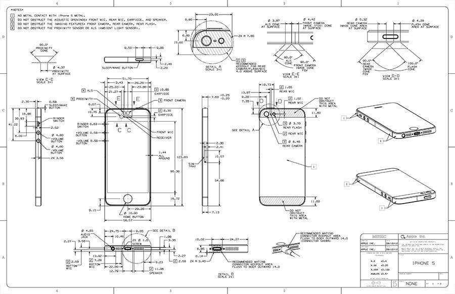 Apple blueprints offer highly detailed view of iphone 5 iphone 5 blueprint malvernweather Choice Image