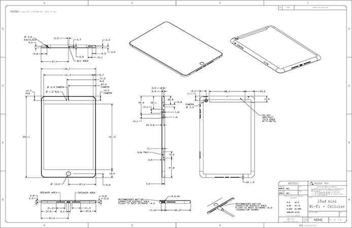 Apple posts highly-detailed drawings of iPad mini, 4th-gen iPad to ...