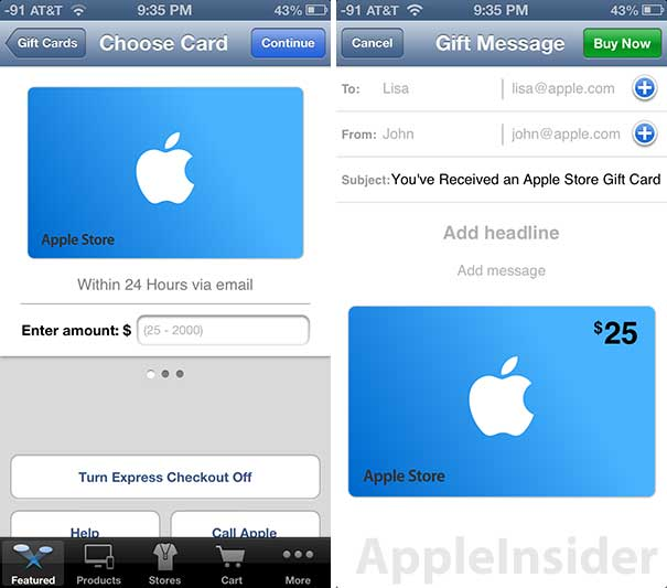 Briefly: Passbook enabled gift cards now featured in Apple Store app