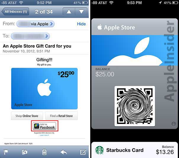 briefly passbook enabled gift cards now featured in apple store app. Black Bedroom Furniture Sets. Home Design Ideas