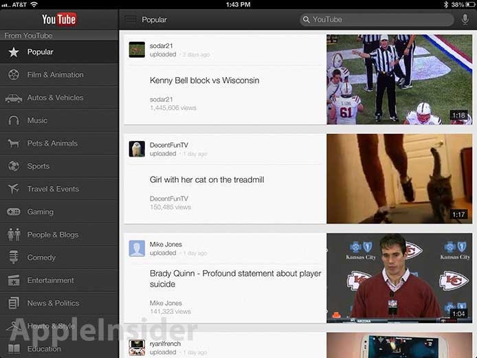 Google's YouTube IOS App Now Available For IPad, Adds