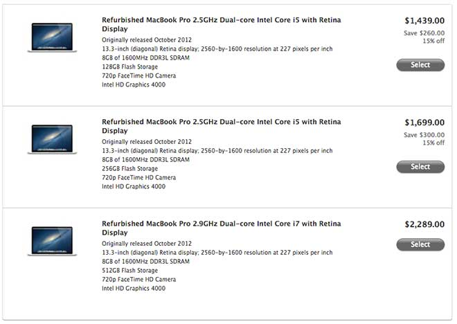 apple laptop prices. less than two weeks after refurbished 15-inch macbook pro with retina display models were added to the online apple store, versions of laptop\u0027s laptop prices