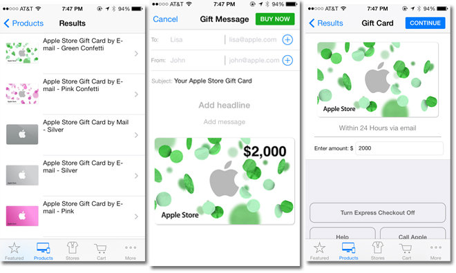 apple store app now supports international passbook gift cards after