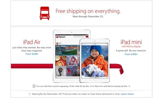 Apple announces free shipping for holiday purchases, order ...