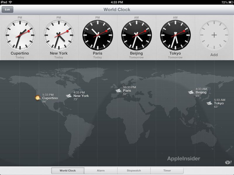 First look apples clock app comes to ipad with ios 6 clock 1 gumiabroncs