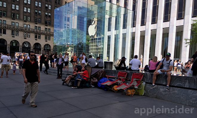 In What Has Become Tradition For Major Apple Product Launches Customers Armed With Foldable Chairs And Supplies Are Camping Out Near The Fifth Avenue