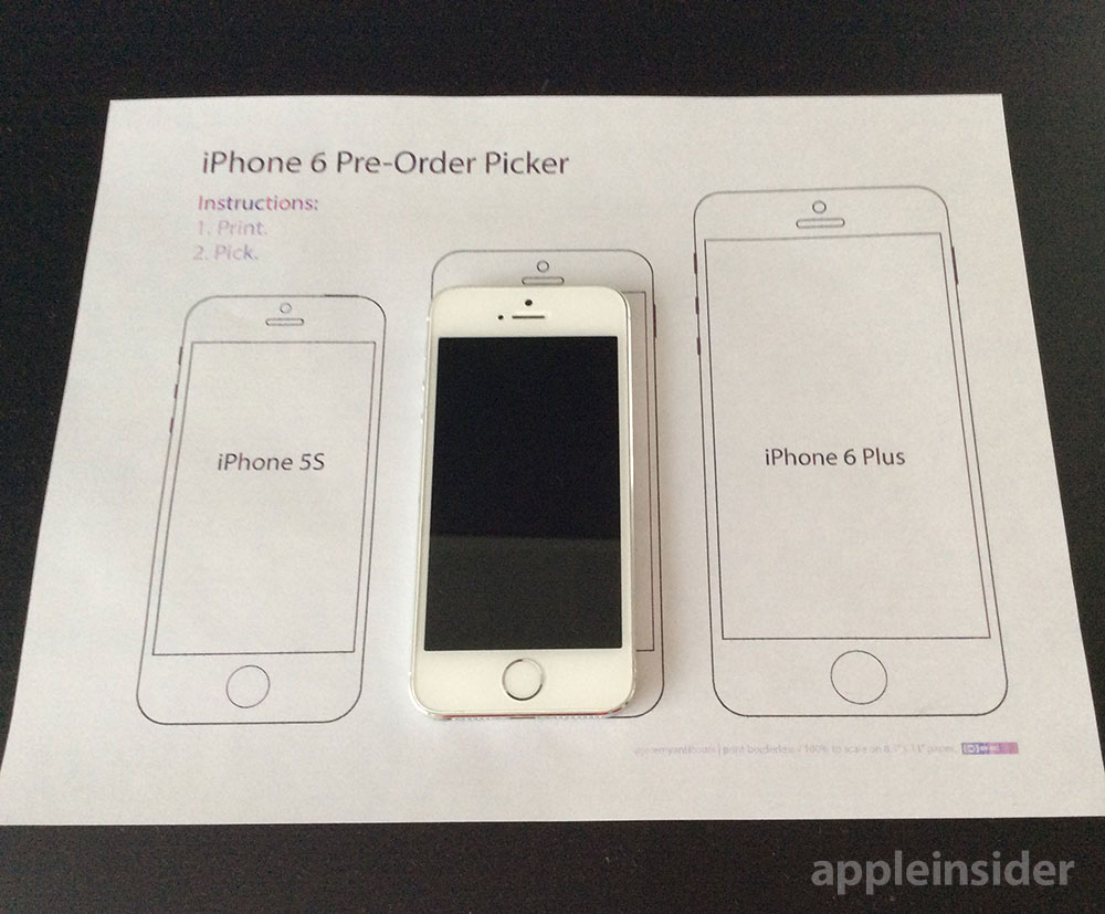 Printable IPhone 6 Pre Order Picker Can Help You Choose The Right Size Model
