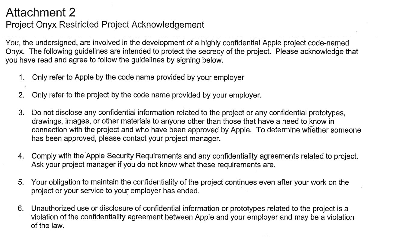Inside Apples secret confidentiality agreements Code names – Confidentiality Agreement Form