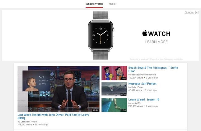 Apple Watch video banner ads land atop YouTube's homepage