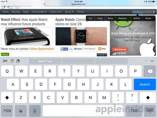 Inside Ios 9 Apples Quicktype Keyboard Gains Quick Cut Copy