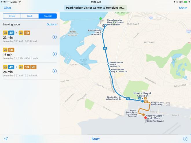 Apple Maps expands transit directions to Honolulu & Kansas City, Mo.