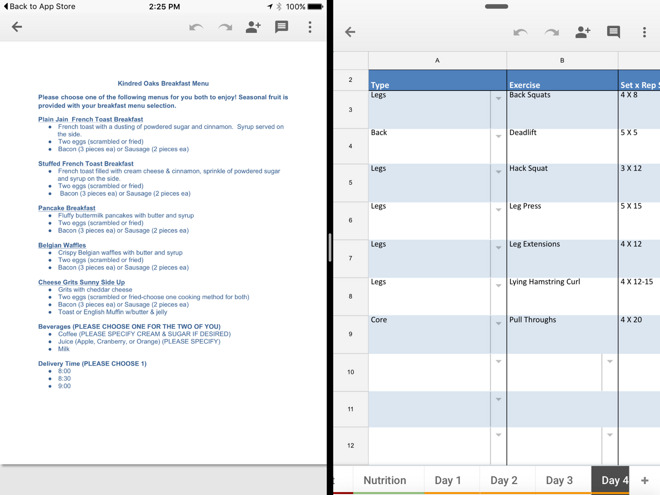google updates ios versions of docs sheets slides with ipad