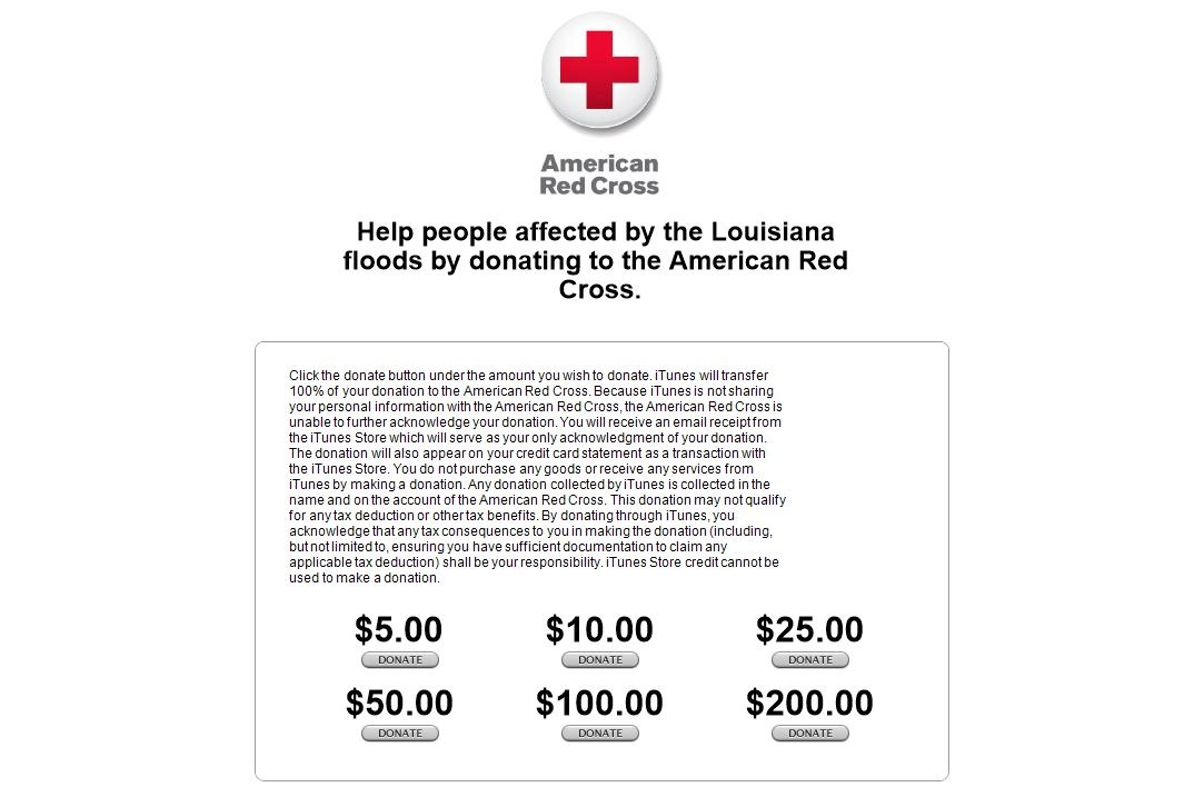 apple opens red cross donations towards louisiana flood relief. Black Bedroom Furniture Sets. Home Design Ideas