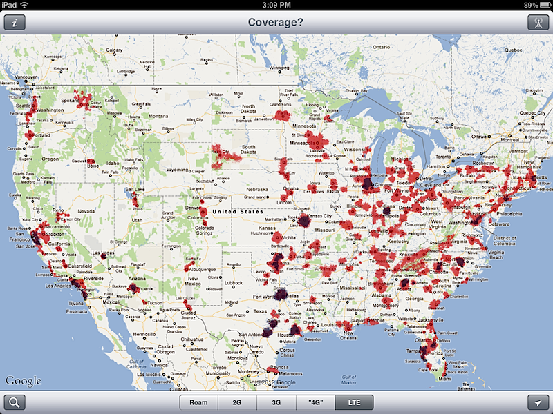 Inside The New IPads G LTE Mobile Data ATT Vs Verizon - Att cell map
