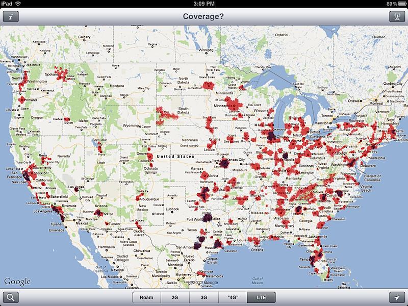 Inside The New IPads G LTE Mobile Data ATT Vs Verizon - Att mobile coverage map