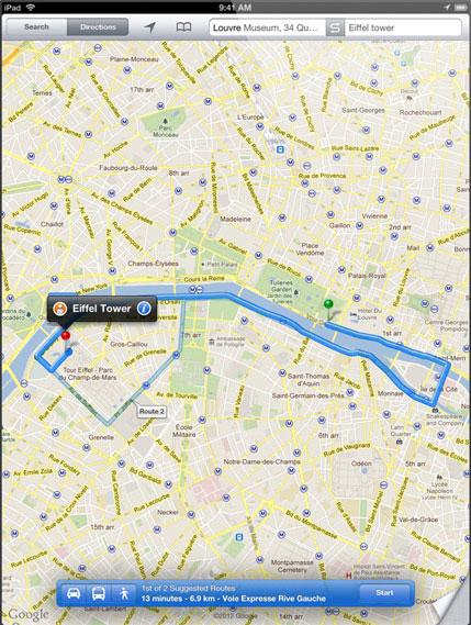 Apple Avoids Showcasing Google Maps In Promotional Material For New IPad - Paris france google maps