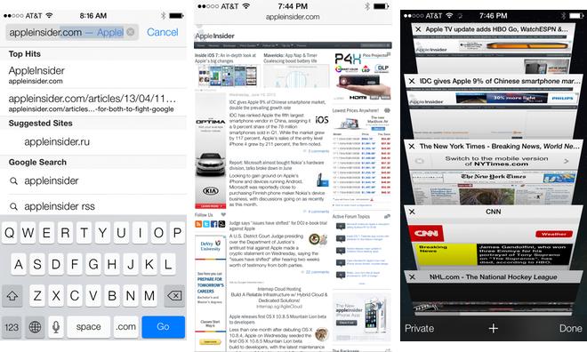 Inside IOS 7 Safari Gains Portrait Fullscreen Unified Search Bar Visual Tabs