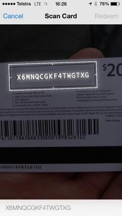 Ios 7 beta itunes gift cards can be scanned by iphone camera scanning an itunes gift card in ios 7 photo via beau giles negle Images