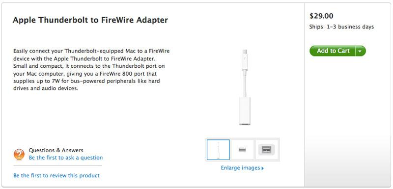 Apple Store now carries Thunderbolt to FireWire Adapter