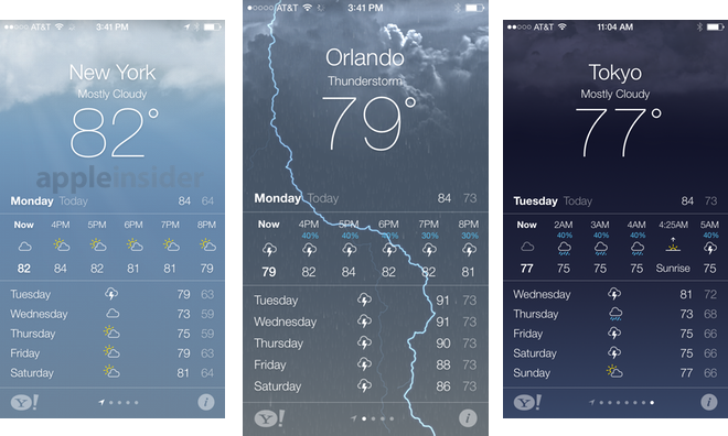 Inside ios 7 apple 39 s weather app gets animated for Application iphone temperature interieur