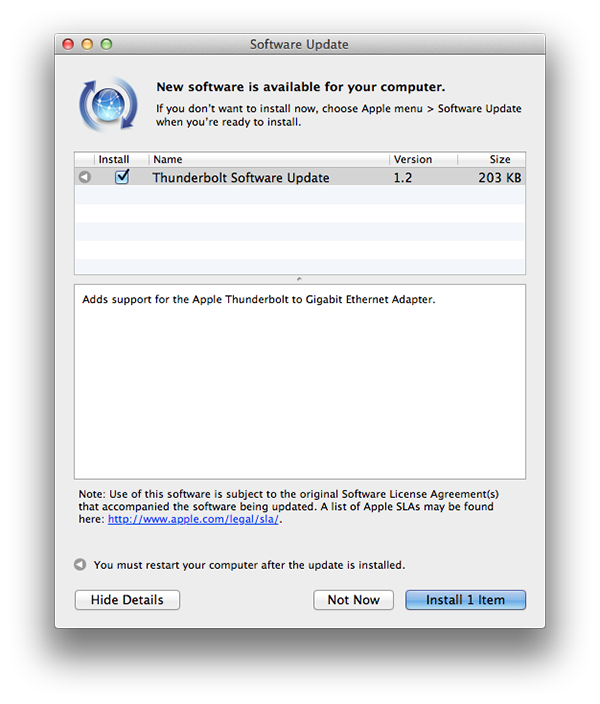 Apple pushes out Thunderbolt software update for new accessory