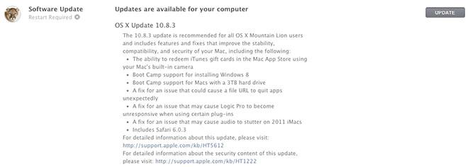 Apple releases OS X 10 8 3 with Safari 6 0 3, new iTunes integration