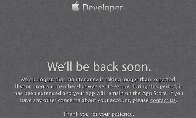 Apple says developer portal downtime will not affect program