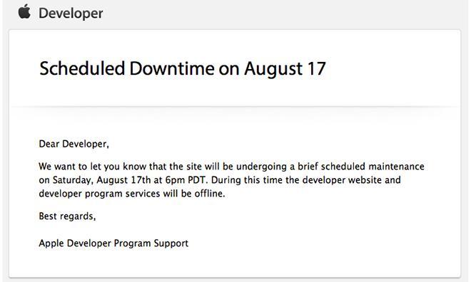 Apple's Developer Center to undergo scheduled downtime on