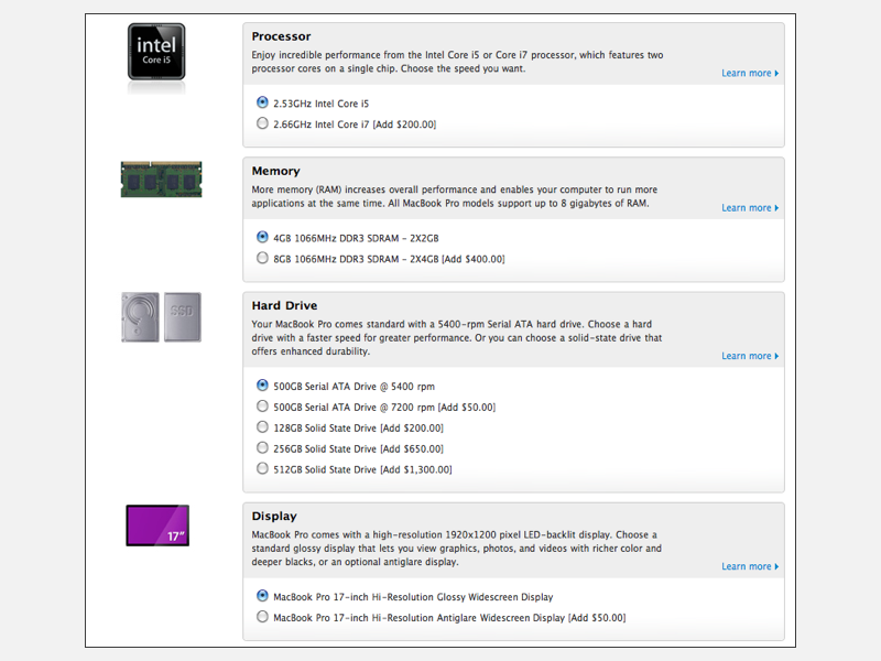 MacBook Pro BTO options