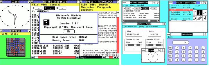 Windows 1.0 and 2.0