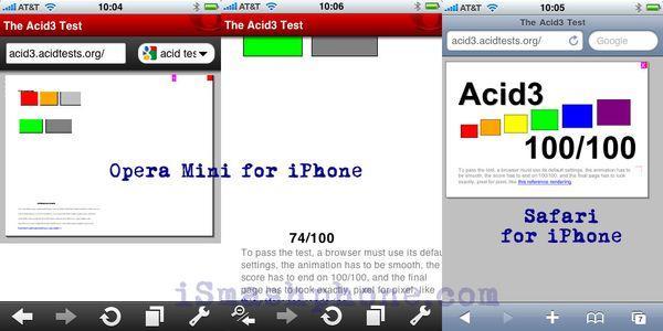 ismashphone.com Acid3 test Opera Mini vs Safari