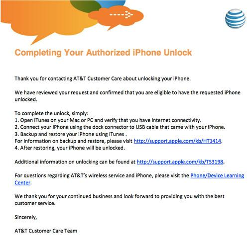 how to enter at&t unlock code