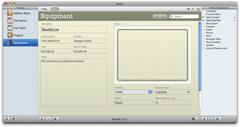 First Look: FileMaker\'s Bento personal database for Leopard