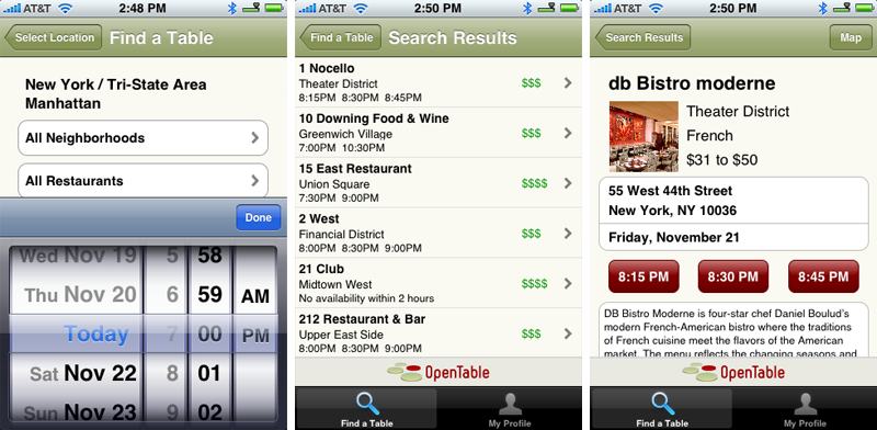 Dining Out With IPhone Zagat And OpenTable Hit The App Store - Google open table