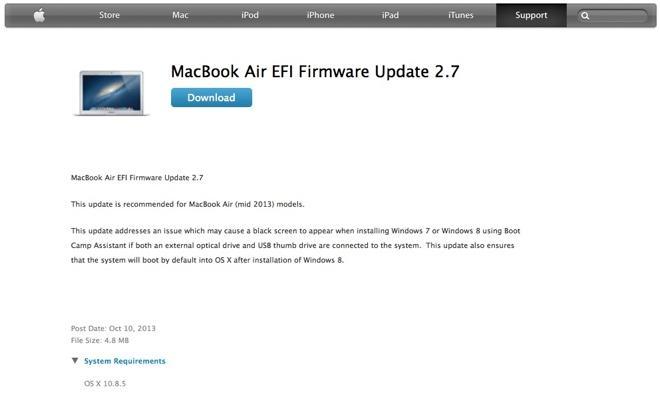 Apple issues MacBook Air EFI Firmware Update 2 7