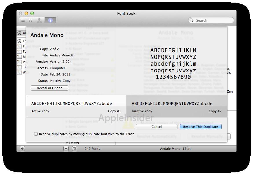 Inside Mac OS X 10 7 Lion: Font Book 3, Emoji support