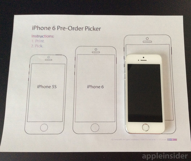 ee47bcd70da20c Printable iPhone 6 pre-order picker can help you choose the right size model