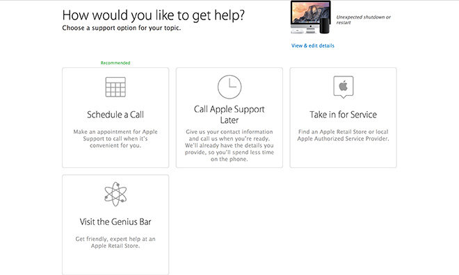 Apple integrates Genius Bar reservations to online support options