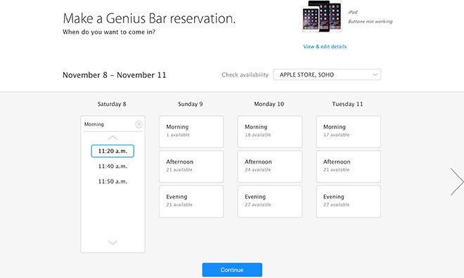 schedule genius bar appointment
