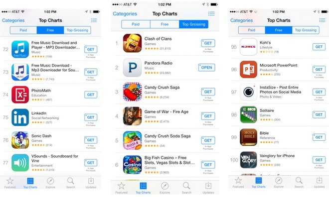 App Store download buttons change from 'Free' to 'Get' as in-app