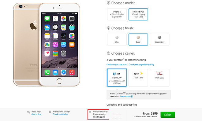 890b16d4527 iPhone 6 and 6 Plus ship times drop to one day, Retina 5K iMac back in stock