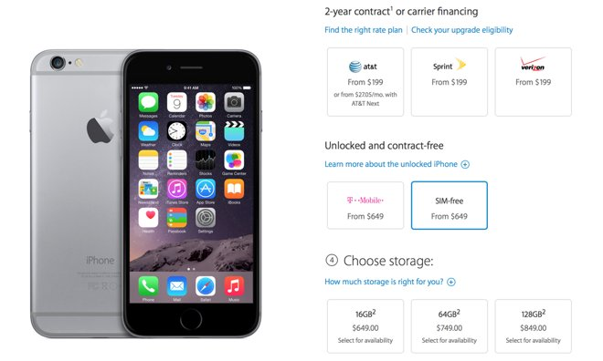 iphone 6 for free apple begins selling unlocked sim free iphone 6 and 6 2635
