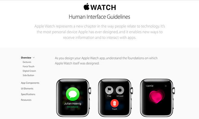 Apple updates Apple Watch Human Interface Guidelines website with