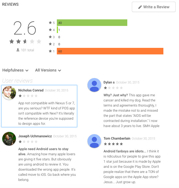 Majority of Google Play reviews for Apple's Android Beats