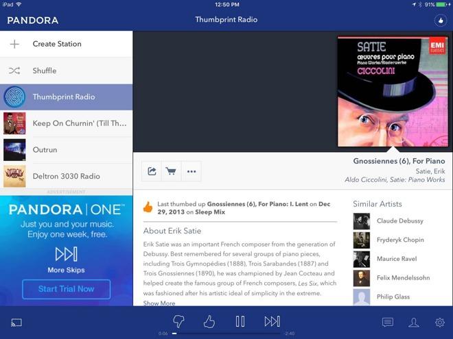 Pandora debuts Thumbprint Radio, Google quietly adds offline