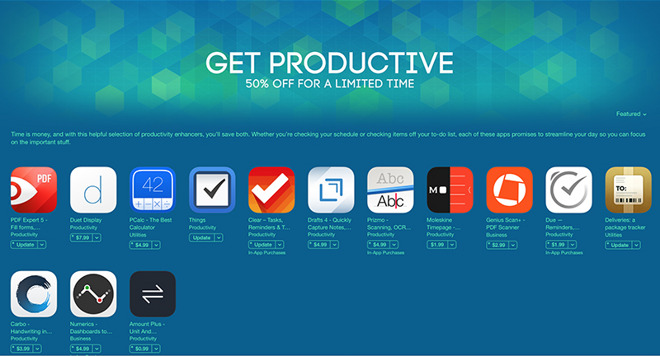 Apple takes 50% off popular productivity apps in new iOS App