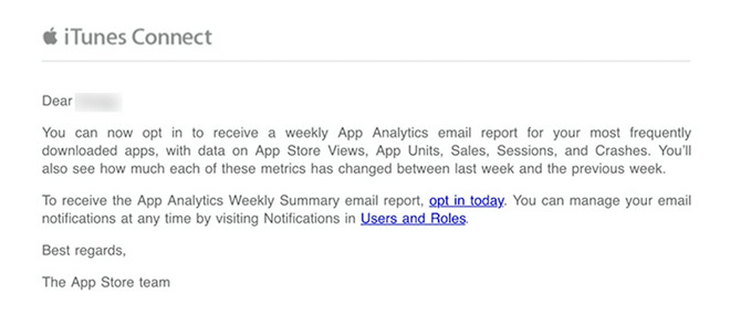 Apple activates weekly App Analytics emails for devs, admits